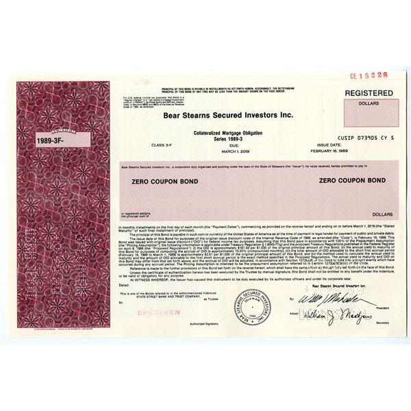 Bear Stearns Secured Investors Inc., 1989 Specimen Registered Bond