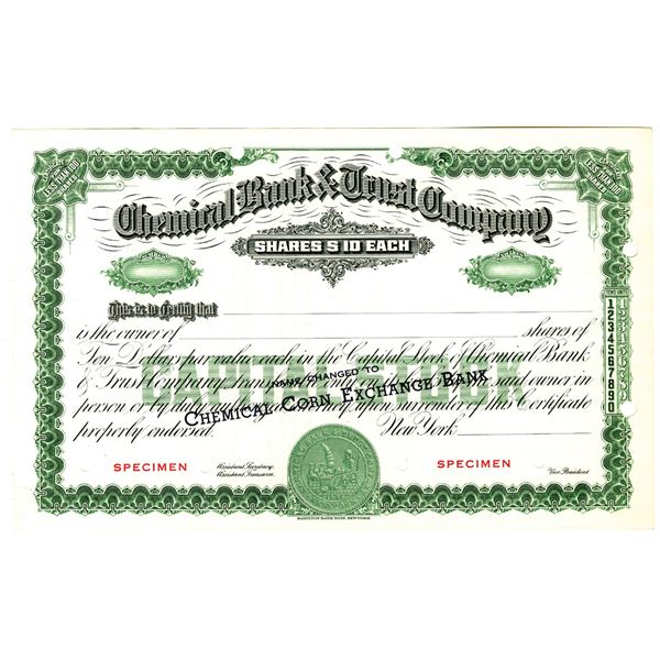 """Chemical Bank & Trust Company with Name Change to """"Chemical Corn Exchange Bank"""", 1954 Specimen Stock"""