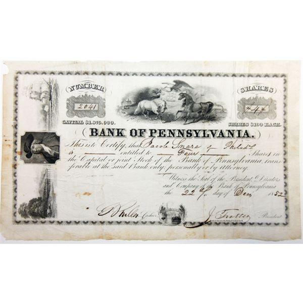 Bank of Pennsylvania, 1852 I/U Stock Certificate
