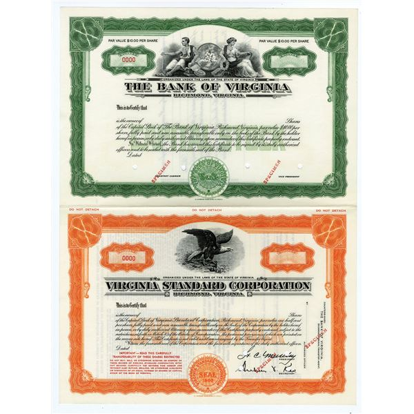 Bank of Virginia & Virginia Standard Corp., 1960 Uncut Specimen Stock Certificate Pair