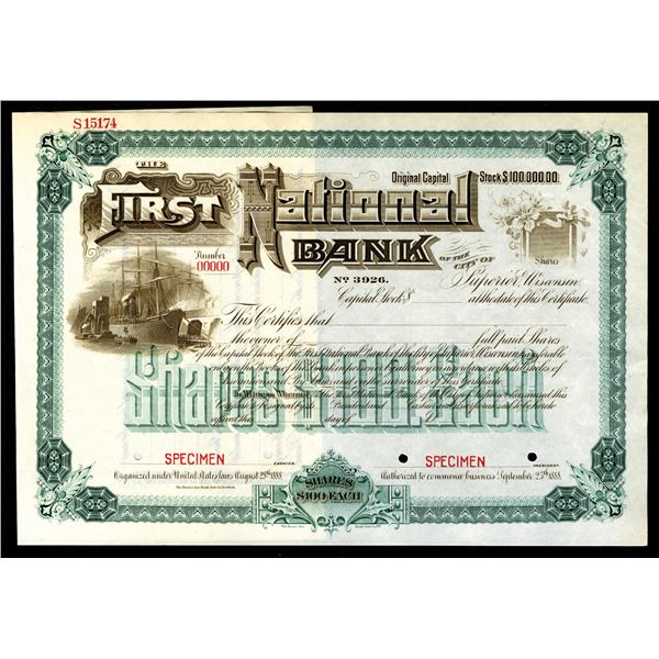 First National Bank of the City of Superior, Wisconsin, 1888, Charter No.3926, Specimen Stock Certif