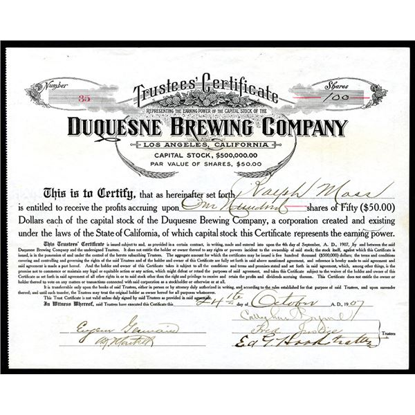 Duquesne Brewing Co., 1907 I/U Stock Certificate