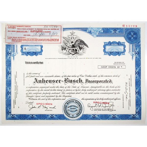 Anheuser-Busch, Inc. 1960-70's Specimen Stock Certificate with SBN Printing Order
