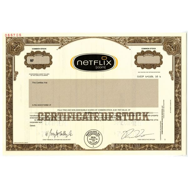 NetFlix.com, Inc. 2000 Specimen Stock Certificate - Pre IPO Issue