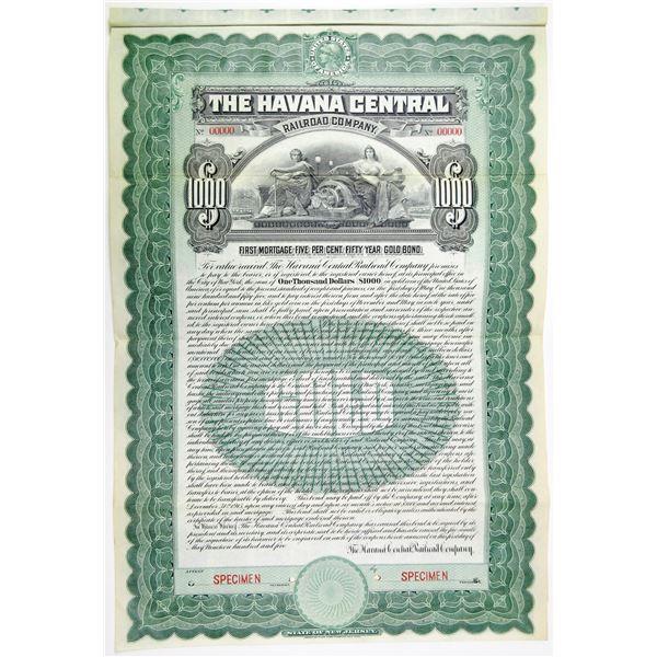 Havana Central Railroad Co., 1905 Specimen Bond Rarity
