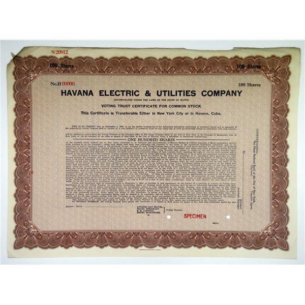 Havana Electric & Utilities Co. 1930 Specimen Stock Certificate