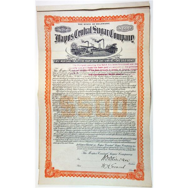 Mapos Central Sugar Co., 1912 Issued $500 Gold Coupon Bond