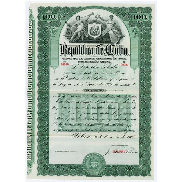 Republica de Cuba, 1905 Specimen Bond