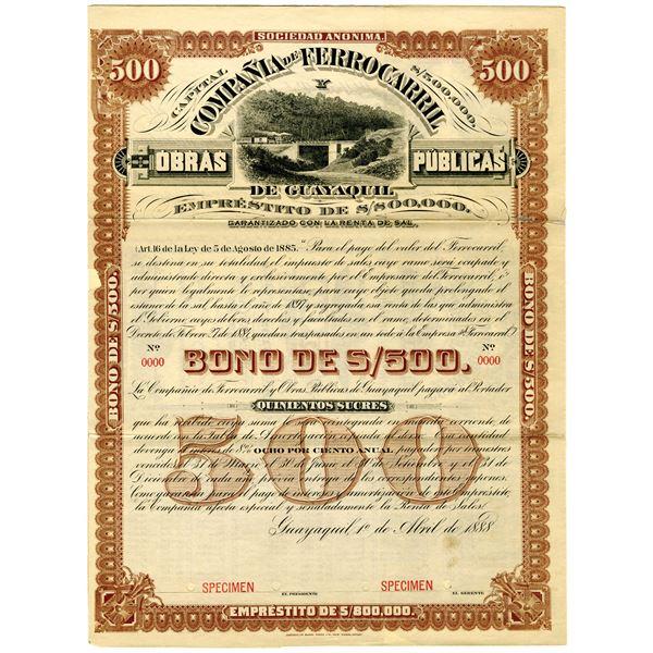 Compania de Ferrocarril de Guayaquil, 1888 Specimen Bond Rarity