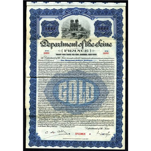 Department of the Seine, 1922 Specimen Gold Bond.