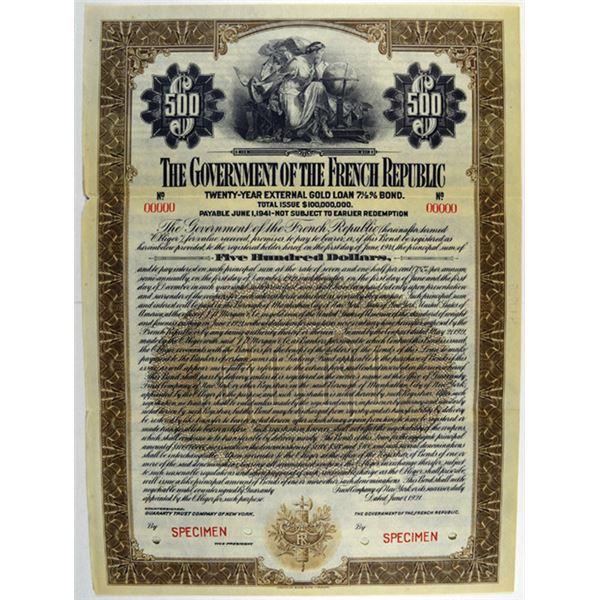 Government of the French Republic, 1921 Specimen Bond.