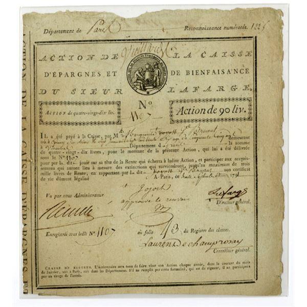 Savings and Charity Fund of Monsieur Lafarge, 1791 Issued Certificate