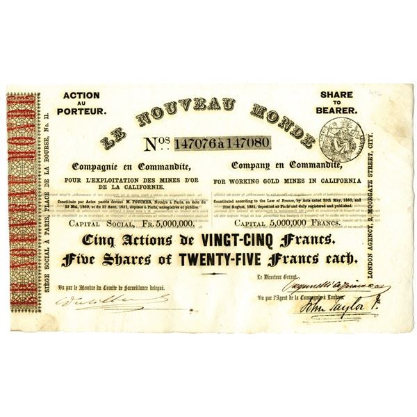 Le Nouveau Monde - For Working Gold Mines in California, 1850 Gold Rush Era Stock Certificate