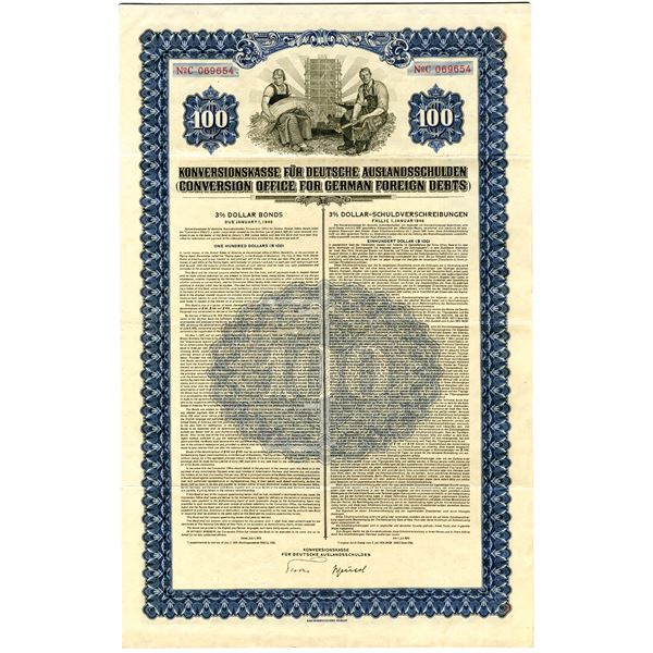 Conversion Office for German Foreign Debts, 1936 Issued Nazi Bond