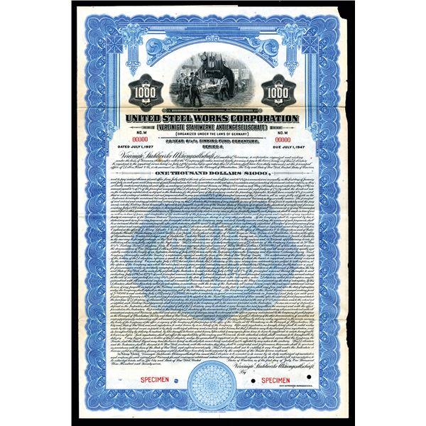 United Steel Works Corporation, 1927 Specimen Bond