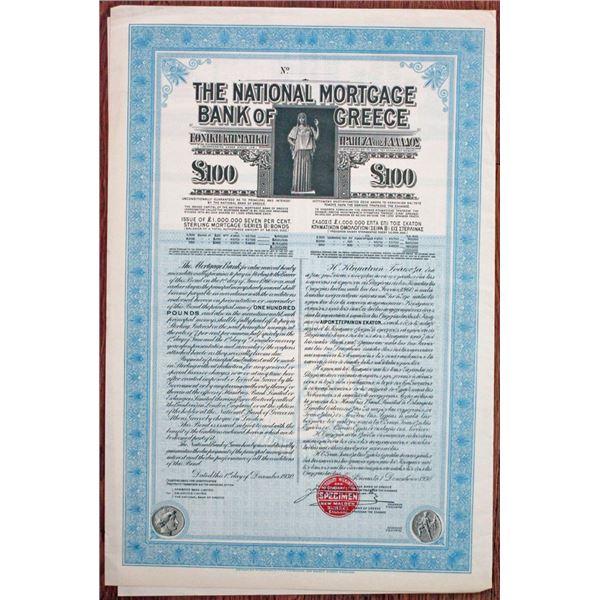 National Mortgage Bank of Greece 1930 Specimen Bond