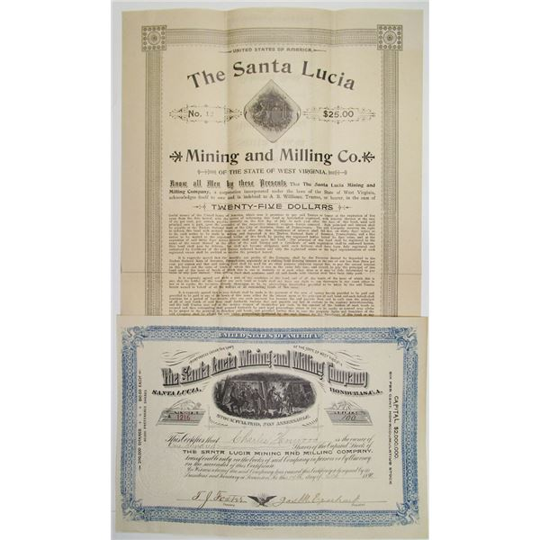 Santa Lucia Mining and Milling Co., 1891 and 1894, I/U Stock and Bond Pair