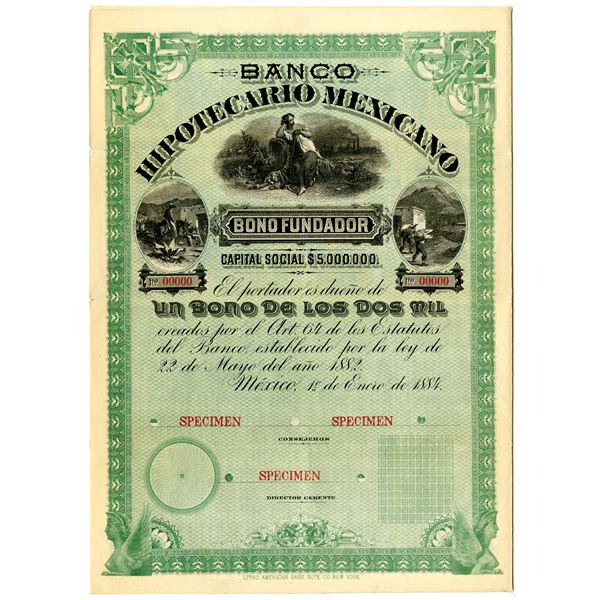 Banco Hipotecario Mexicano 1884 Specimen Bond Rarity