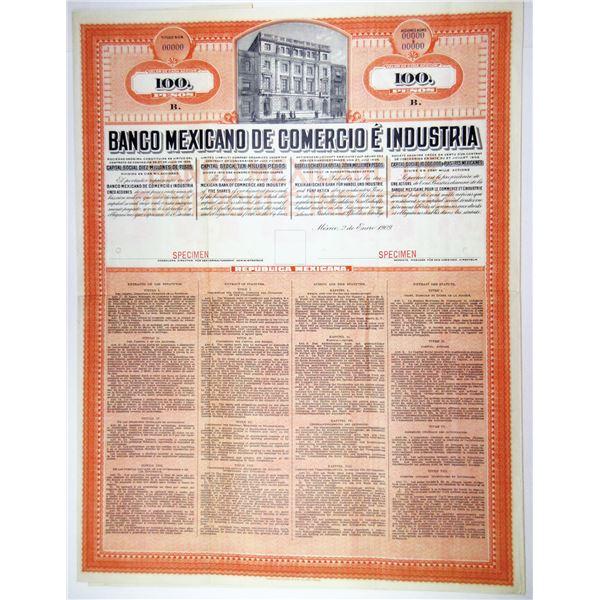 Banco Mexicano De Comercio E Industria, 1909 Specimen Share Certificate