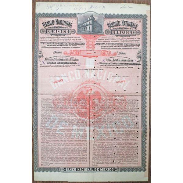 Banco Nacional de Mexico 1906 Specimen Share Certificate