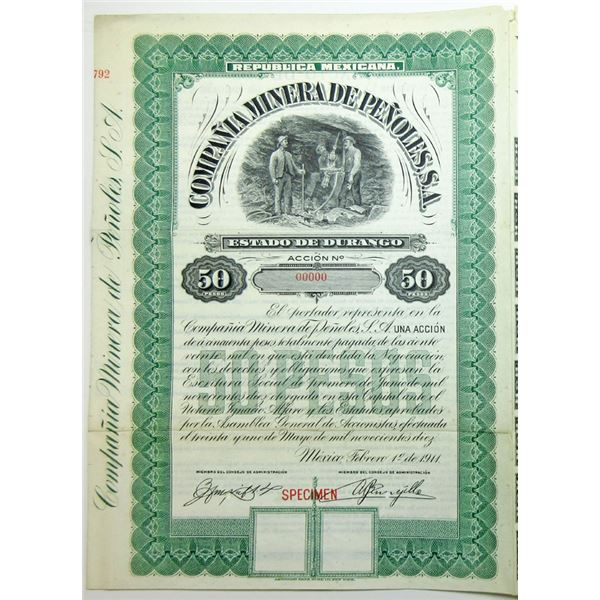Compania Minera De Penoles, S.A 1911 Specimen Bond