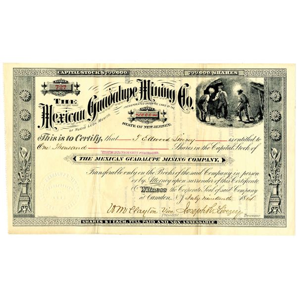 Mexican Guadalupe Mining Co. 1884 Issued Stock Certificate