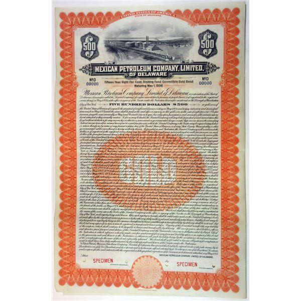 Mexican Petroleum Co. Ltd., of Delaware, 1921 Specimen Bond