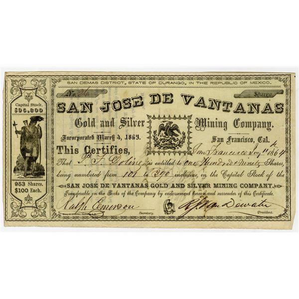 San Jose De Vantanas Gold and Silver Mining Co., 1864 I/U Stock Certificate