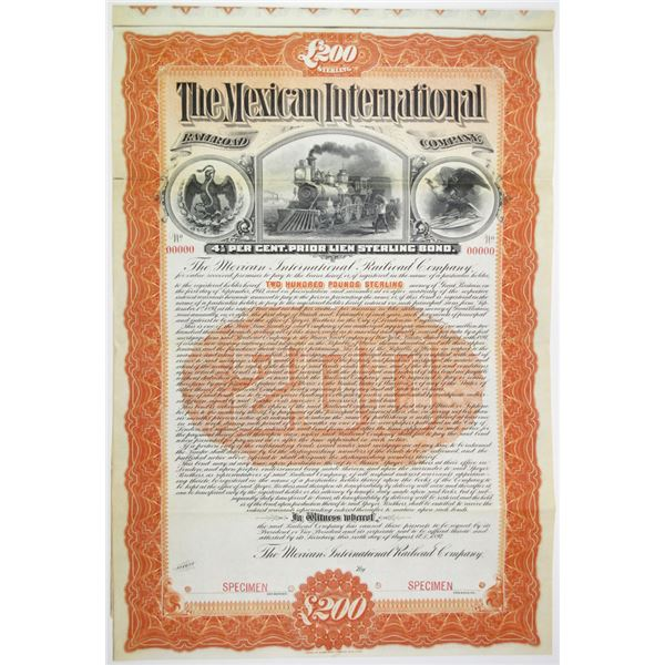 Mexican International Railroad Co. 1897 Specimen Bond