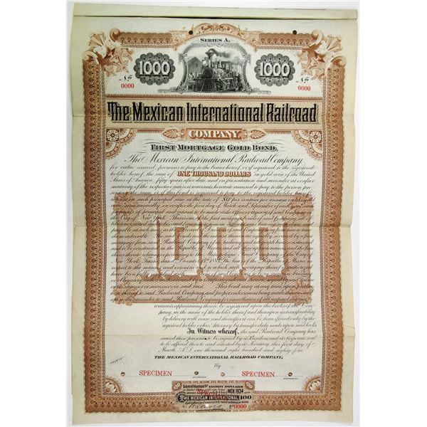 Mexican International Railroad Co., 1884 Specimen Bond Rarity