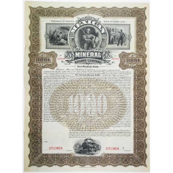 Mexican Mineral Railway Co. 1899 Specimen Bond