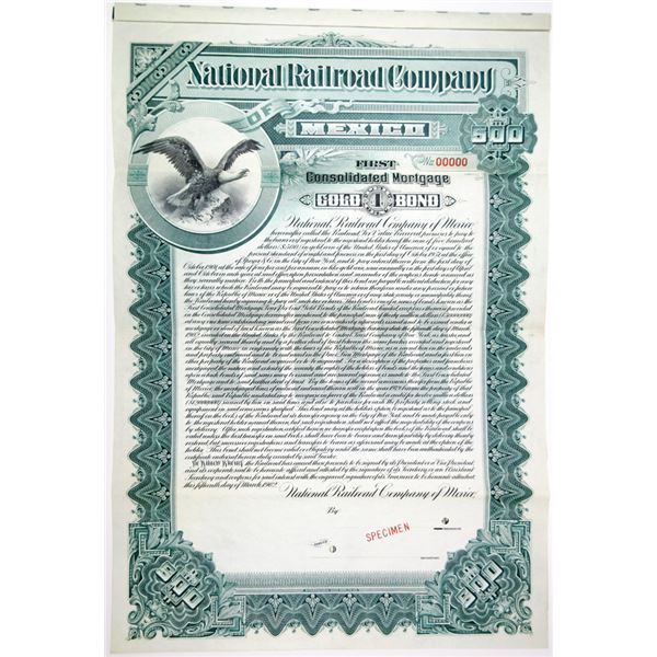 National Railroad Co. of Mexico 1902 Specimen Bond