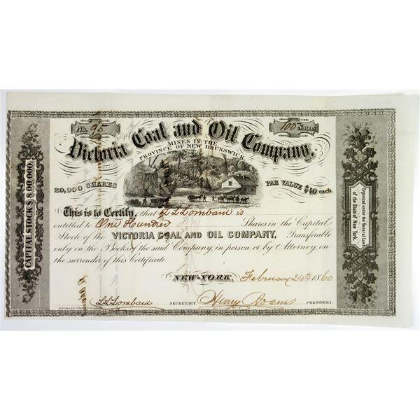 Victoria Coal and Oil Co., 1860 Stock I/U Certificate