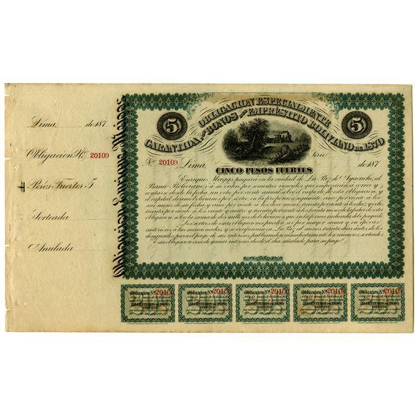 Garantida por Bonos del Emprestito Boliviano 1870 Remainder Bond Issued by Enrique Meiggs.