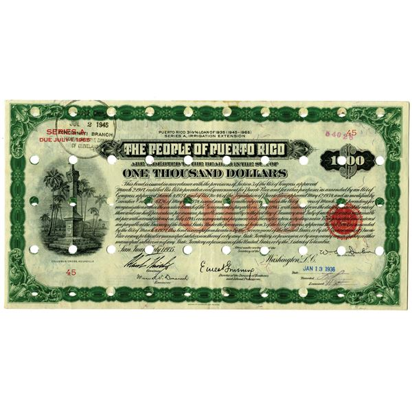 People of Puerto Rico 1936 Issued Bond