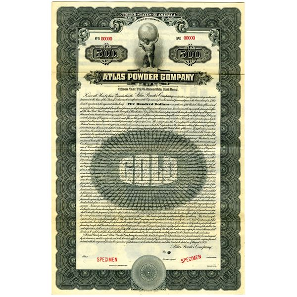 Atlas Powder Co. 1921 Specimen Bond