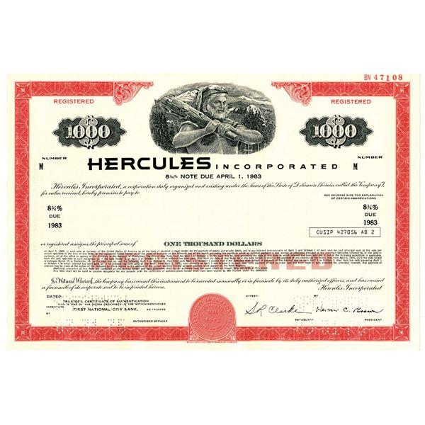 Hercules Inc. 1975 Specimen Bond
