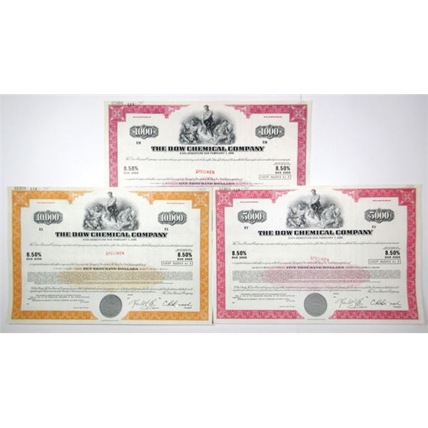 The Dow Chemical Co., 1975 Specimen Registered Bond Trio.