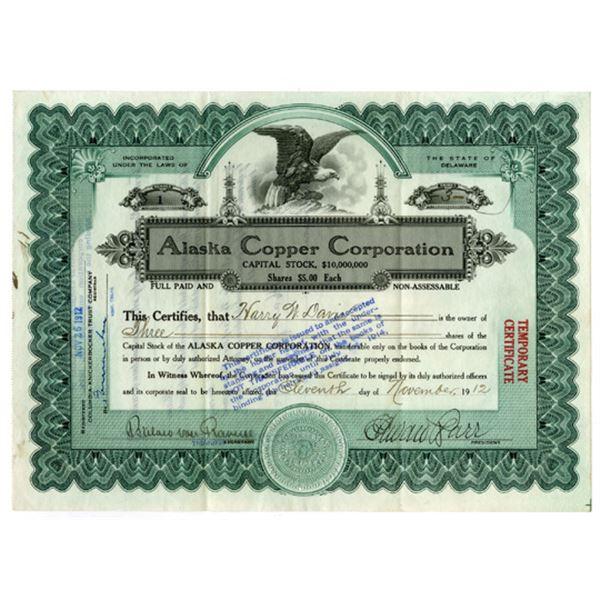 """Alaska Copper Corp., 1912 I/U """"Serial #1"""" Stock Certificate ."""