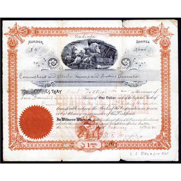 Connecticut and Alaska Mining and Trading Association 1898 Stock Certificate