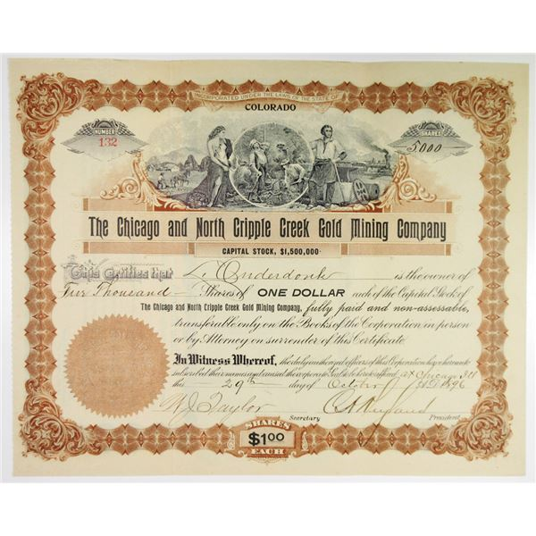 Chicago and North Cripple Creek Gold Mining Co. 1896 I/U Stock Certificate