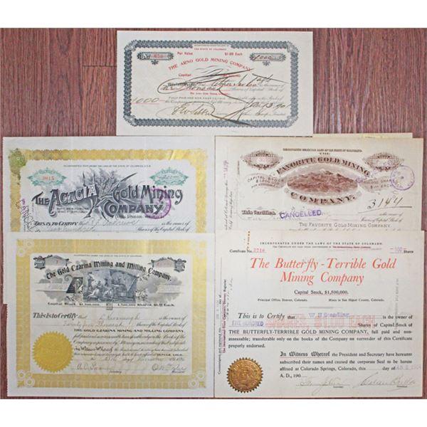 Colorado Mining Stock Certificate Quintet, ca,1896-1904
