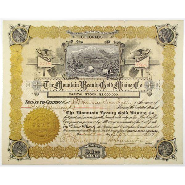 Mountain Beauty Gold Mining Co. 1899 I/U Stock Certificate