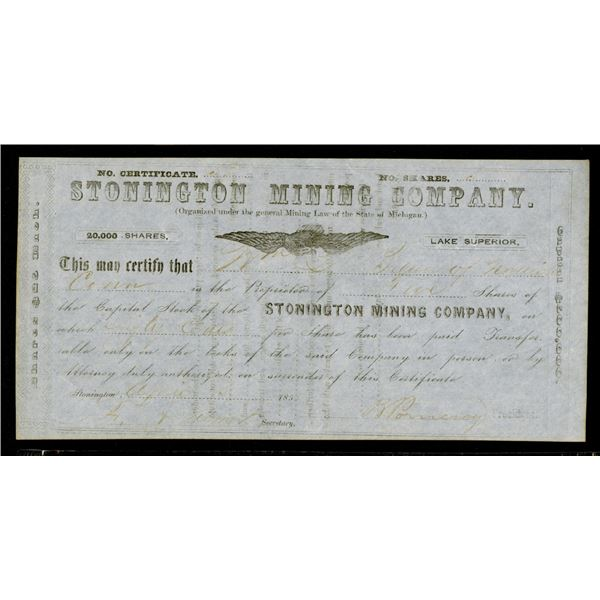 Stonington Mining Co. 1855 Michigan Mining I/U Stock Certificate.