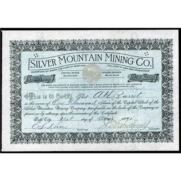 Silver Mountain Mining Co. 1890 Issued Stock Certificate