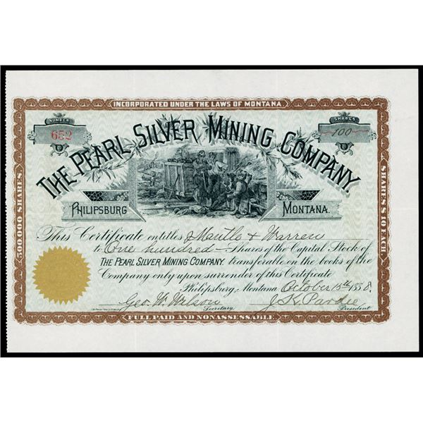 Pearl Silver Mining Co. 1888 Stock Certificate
