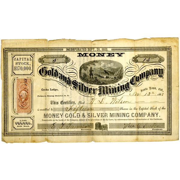 Money Gold and Silver Mining Co., Nov.13, 1863 I/U Stock Certificate