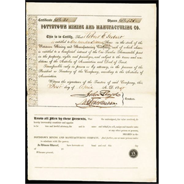 Pottstown Mining and Manufacturing Co., 1848, I/U Stock Certificate.