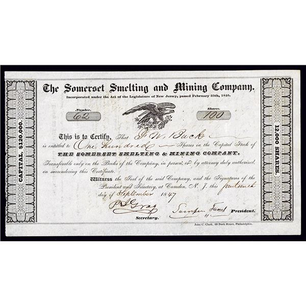 Somerset Smelting and Mining Co. 1847 Stock Certificate