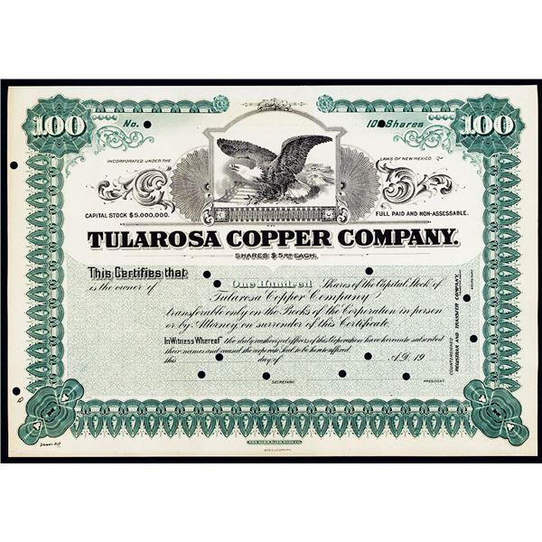 Tularosa Copper Co., 1909 Specimen Stock Certificate